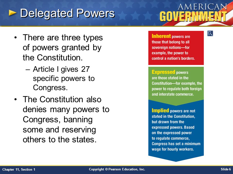Delegated Powers There are three types of powers granted by the Constitution. Article I gives 27 specific powers to Congress.