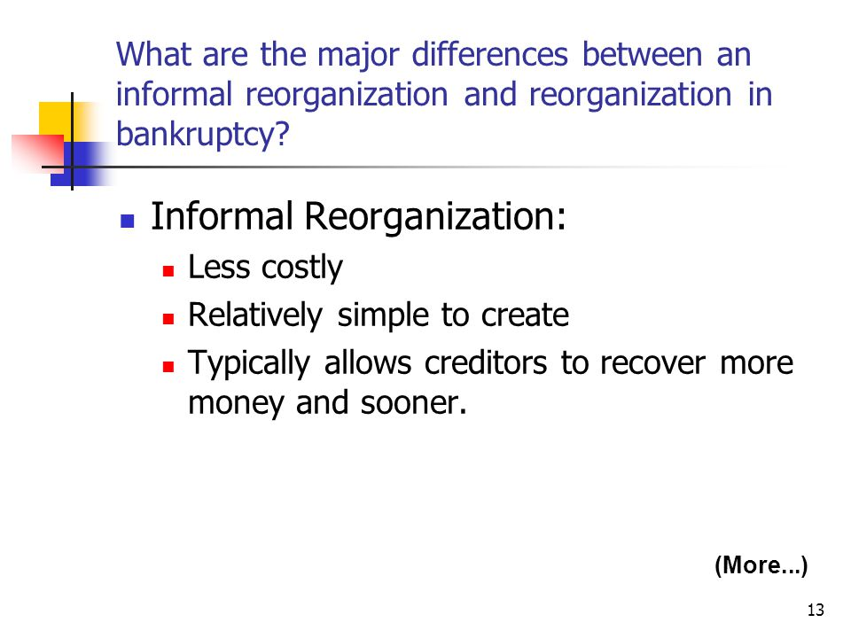 Informal Reorganization: