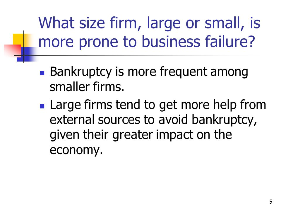 What size firm, large or small, is more prone to business failure