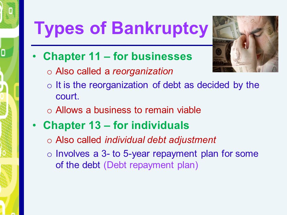 Types of Bankruptcy Chapter 11 – for businesses