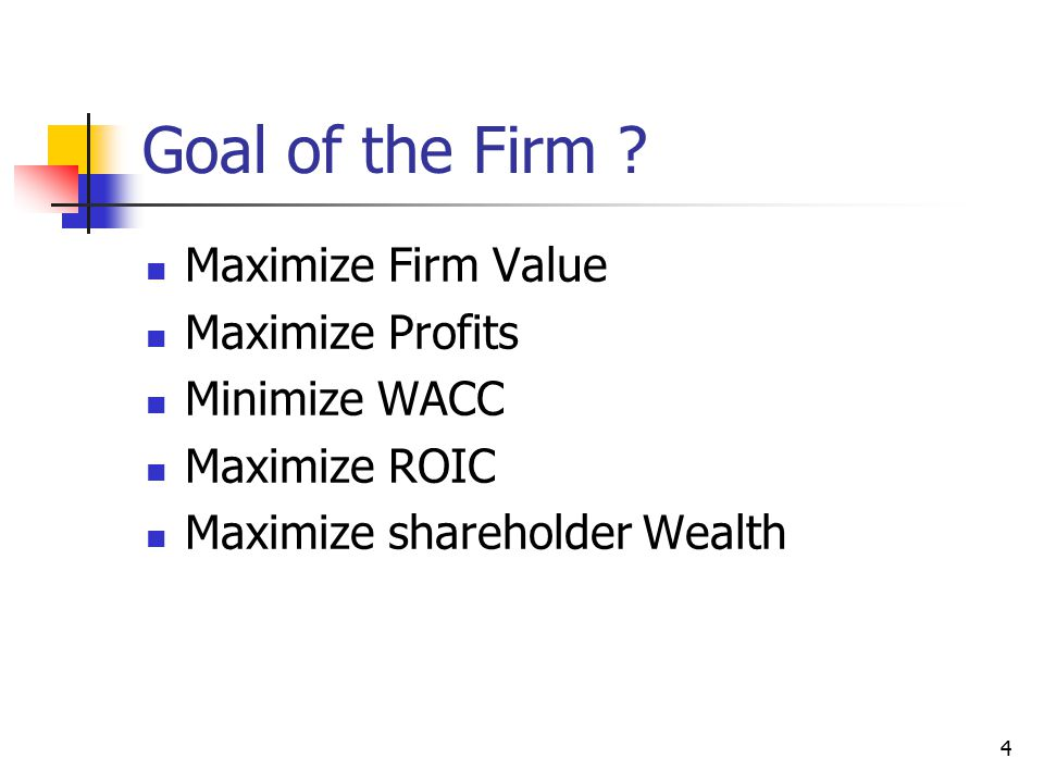 Goal of the Firm Maximize Firm Value Maximize Profits Minimize WACC