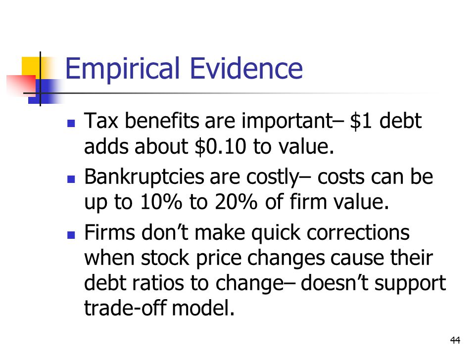 Empirical Evidence Tax benefits are important– $1 debt adds about $0.10 to value.