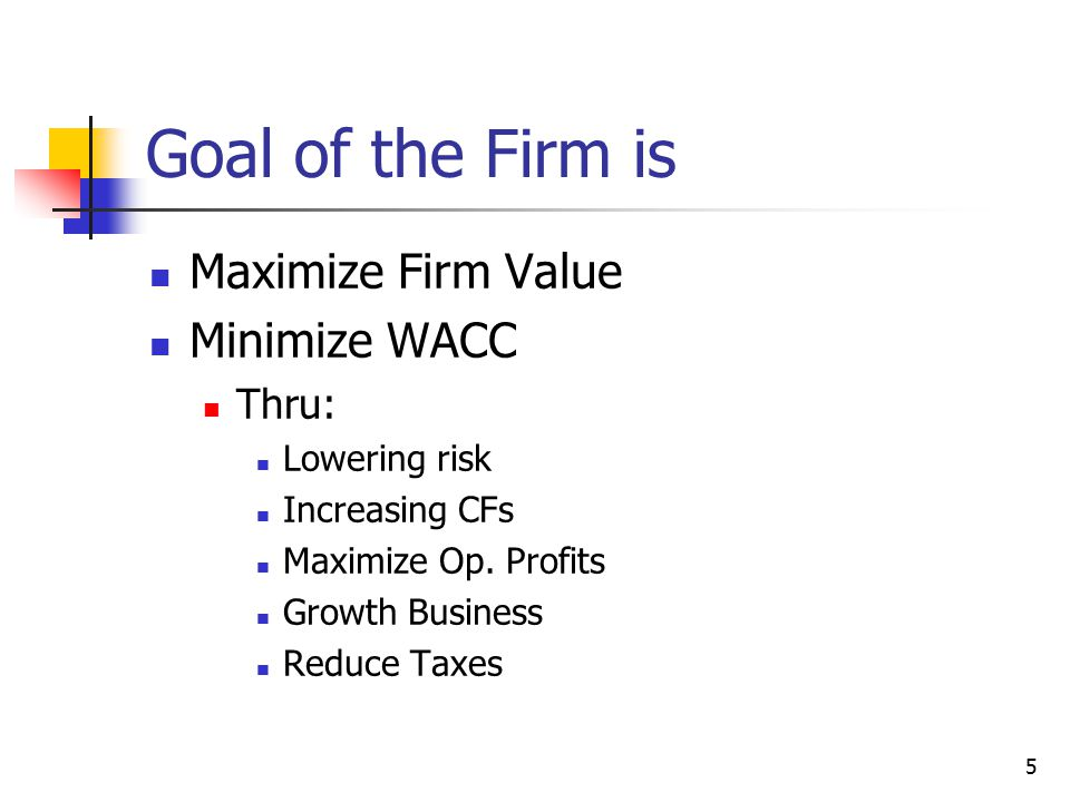 Goal of the Firm is Maximize Firm Value Minimize WACC Thru: