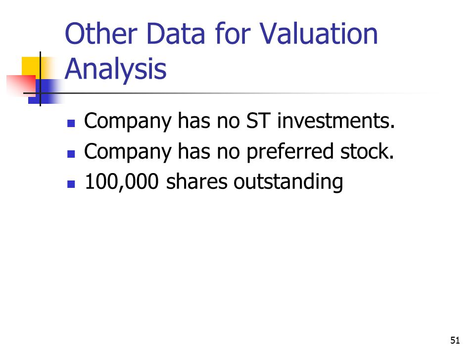 Other Data for Valuation Analysis