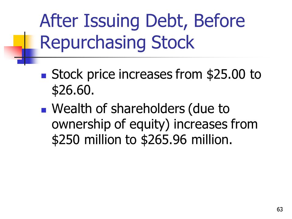 After Issuing Debt, Before Repurchasing Stock