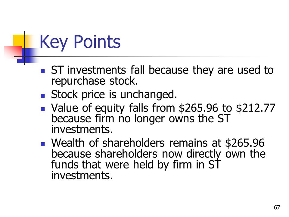 Key Points ST investments fall because they are used to repurchase stock. Stock price is unchanged.