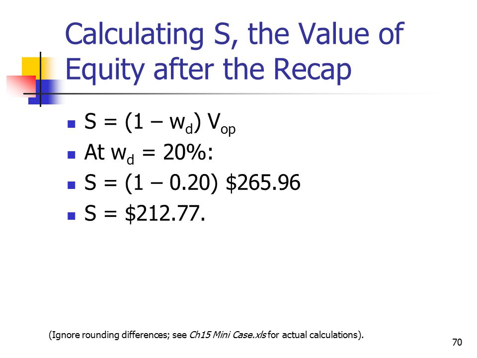 Calculating S, the Value of Equity after the Recap