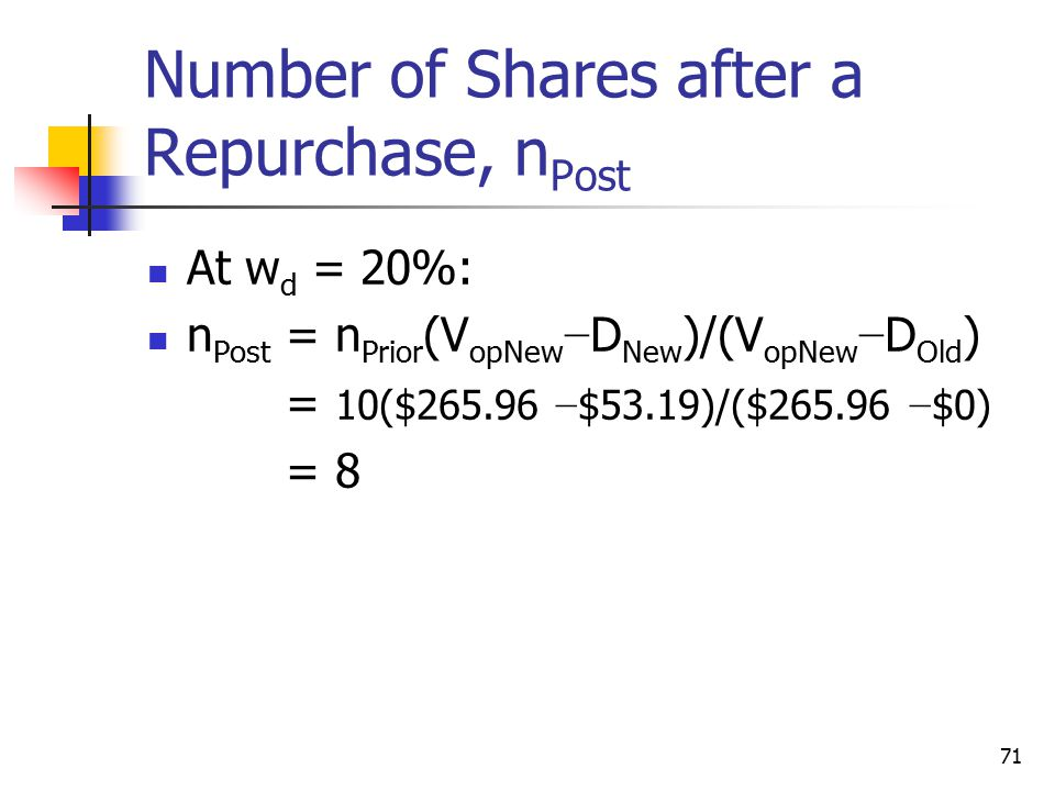 Number of Shares after a Repurchase, nPost
