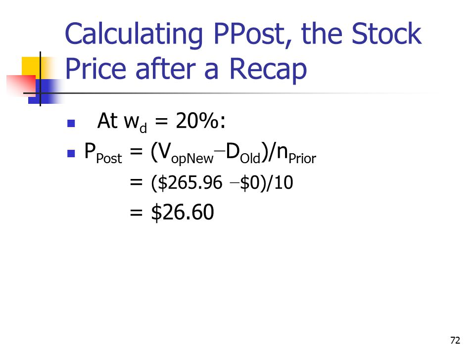 Calculating PPost, the Stock Price after a Recap