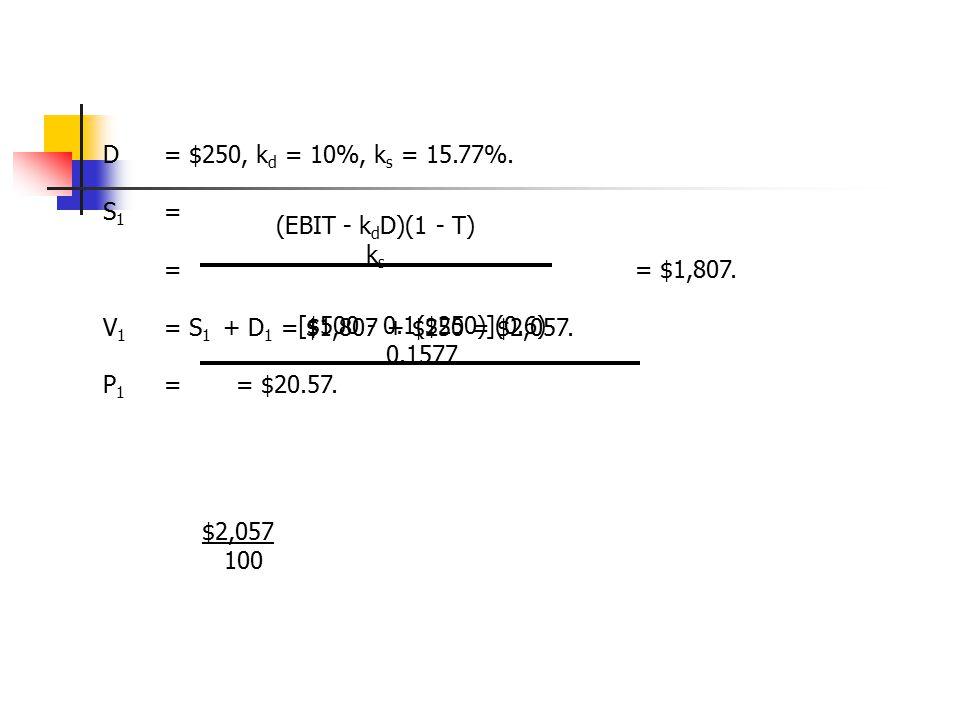 D = $250, kd = 10%, ks = 15.77%. S1 = = = $1,807. V1 = S1 + D1 = $1,807 + $250 = $2,057.