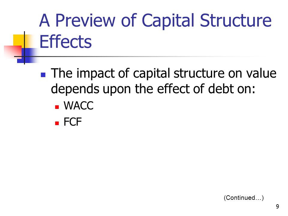 A Preview of Capital Structure Effects