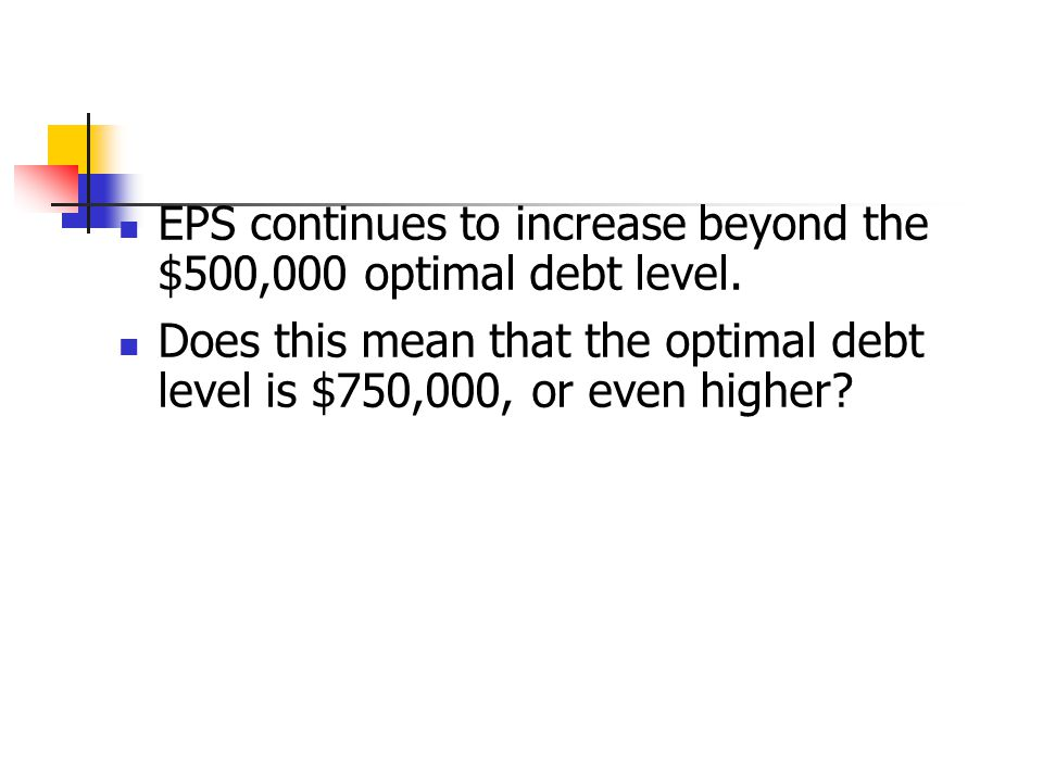 EPS continues to increase beyond the $500,000 optimal debt level.