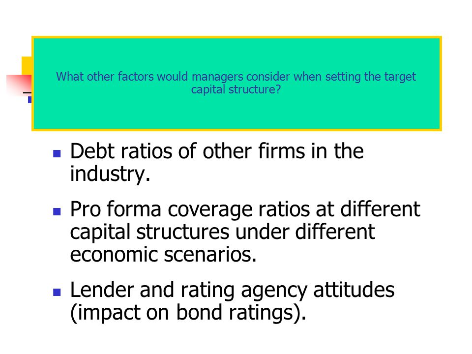 Debt ratios of other firms in the industry.