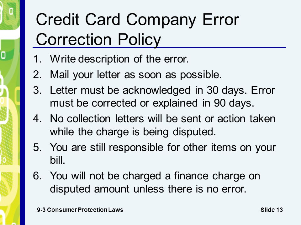 Credit Card Company Error Correction Policy