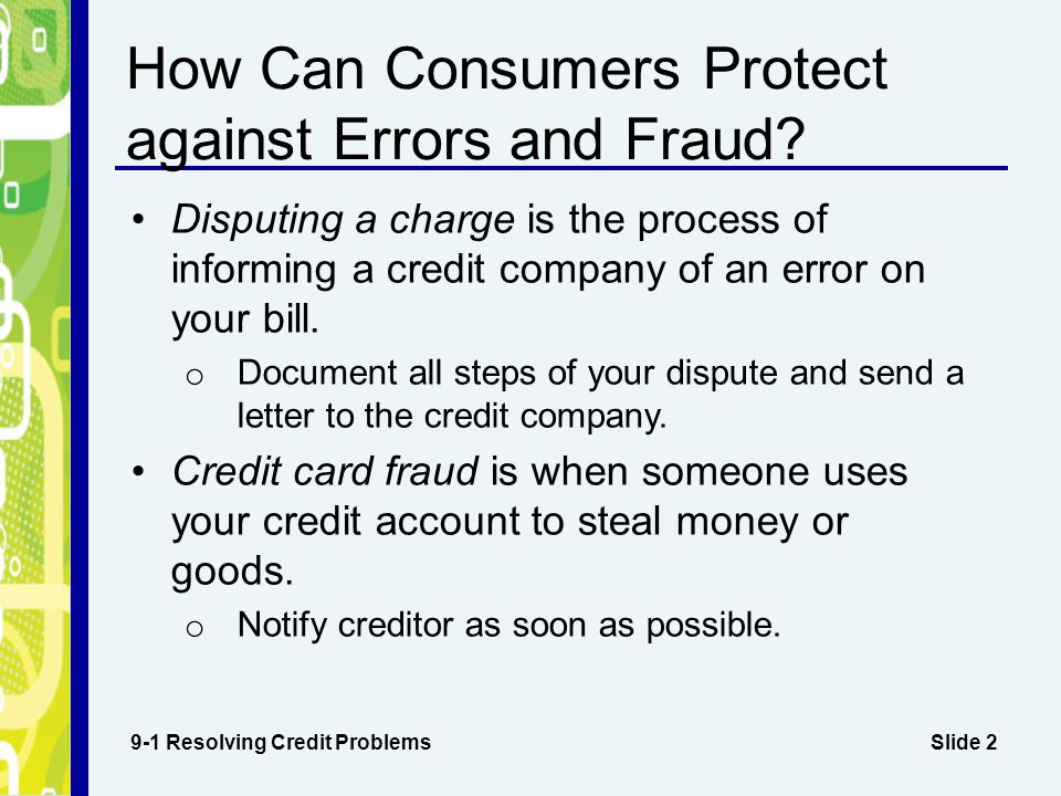 How Can Consumers Protect against Errors and Fraud