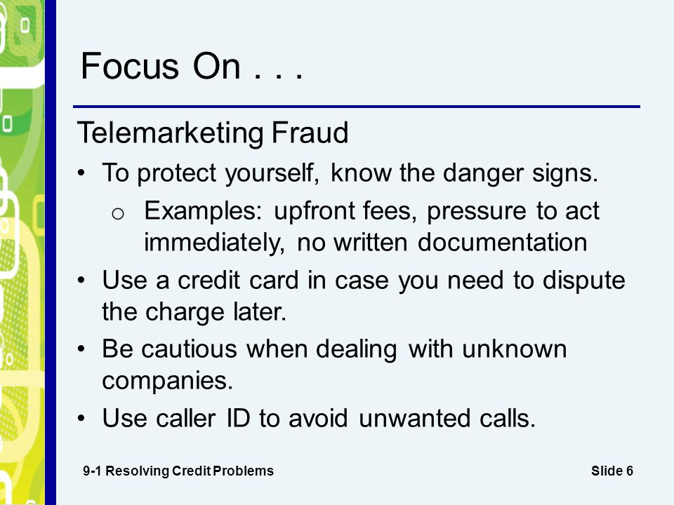 Focus On . . . Telemarketing Fraud