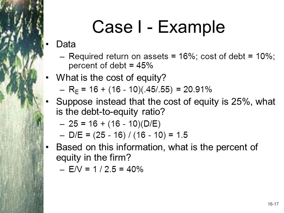 Case I - Example Data What is the cost of equity