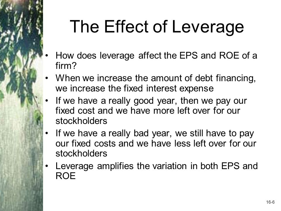 The Effect of Leverage How does leverage affect the EPS and ROE of a firm
