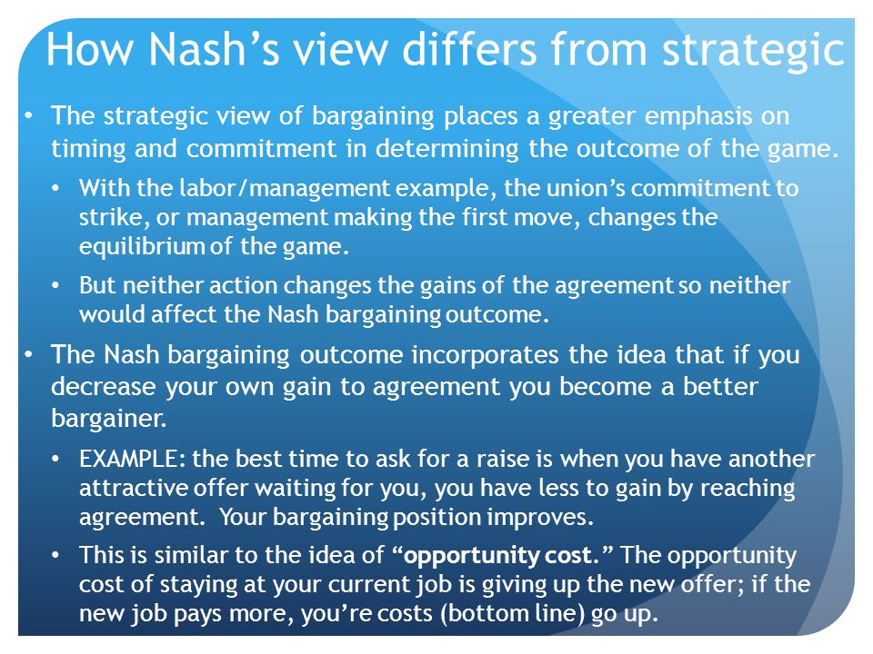 How Nash's view differs from strategic