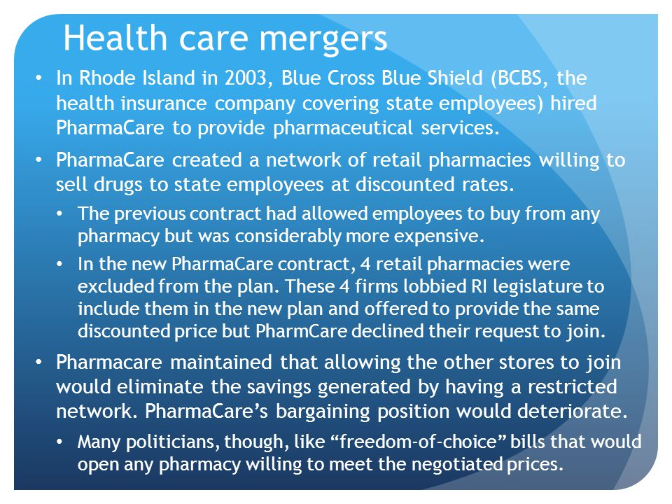Health care mergers