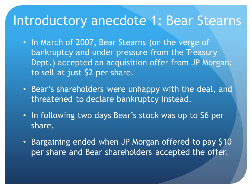 Introductory anecdote 1: Bear Stearns