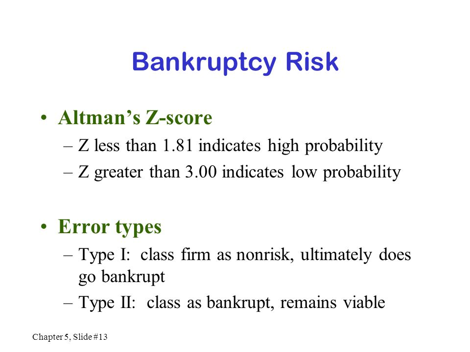 Bankruptcy Risk Altman's Z-score Error types