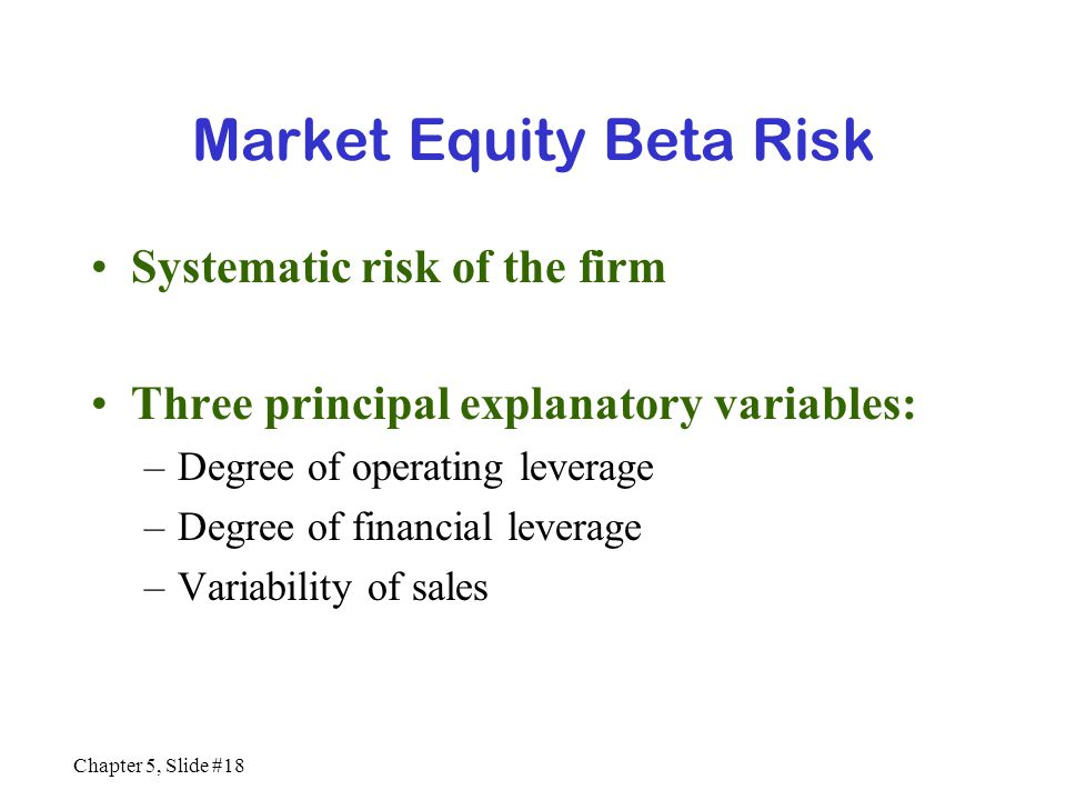 Market Equity Beta Risk