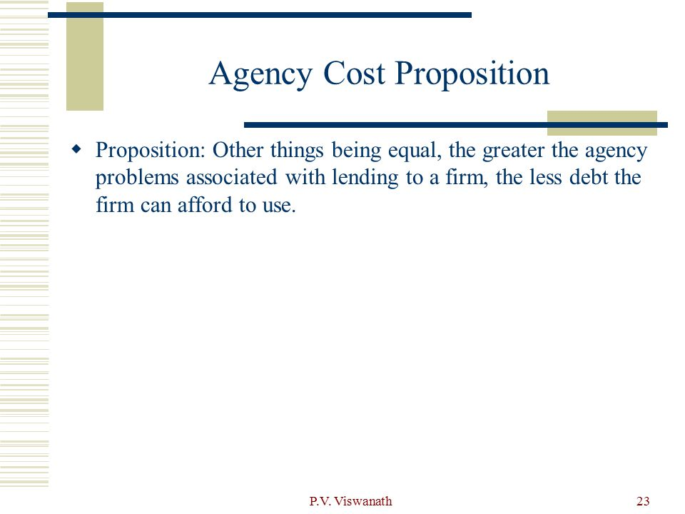 Agency Cost Proposition