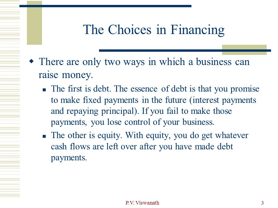 The Choices in Financing