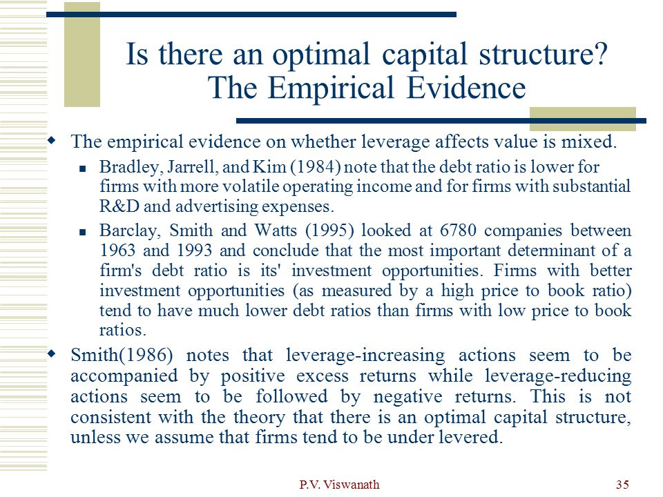 Is there an optimal capital structure The Empirical Evidence