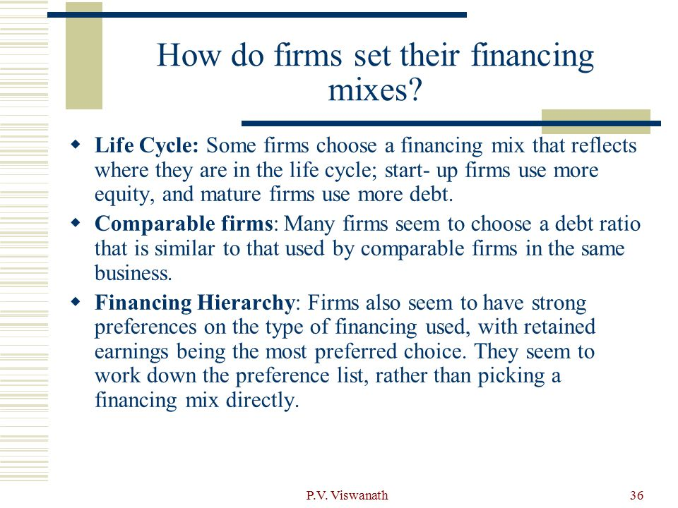 How do firms set their financing mixes