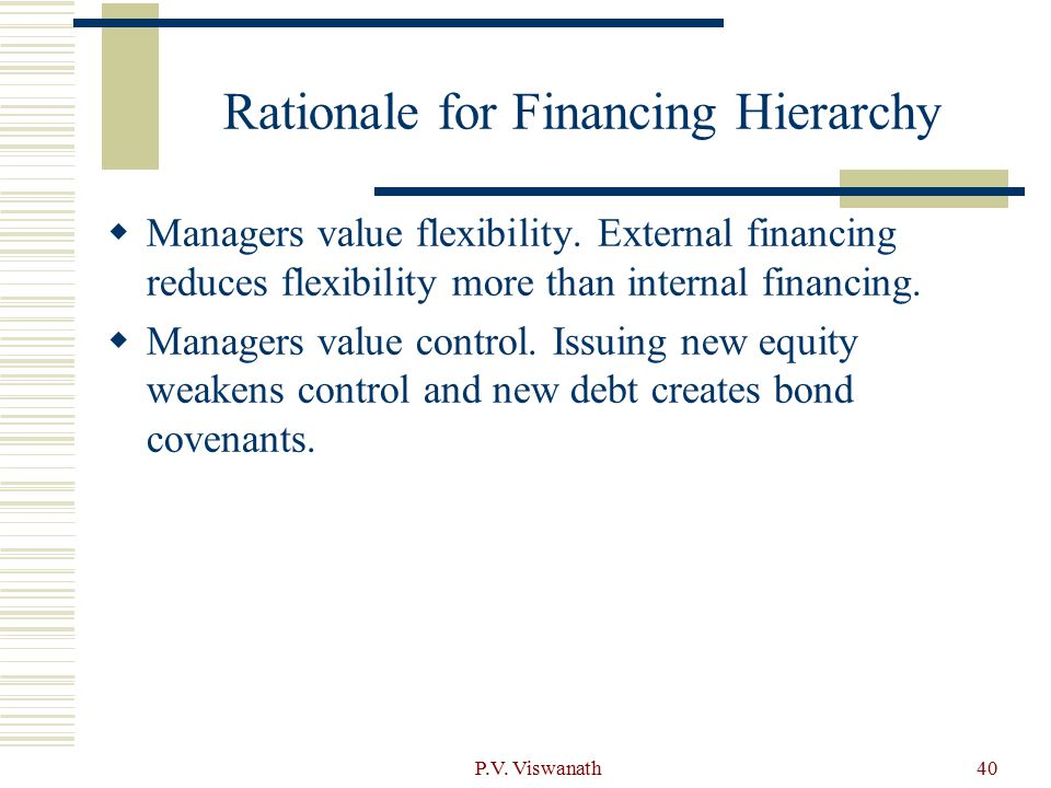 Rationale for Financing Hierarchy