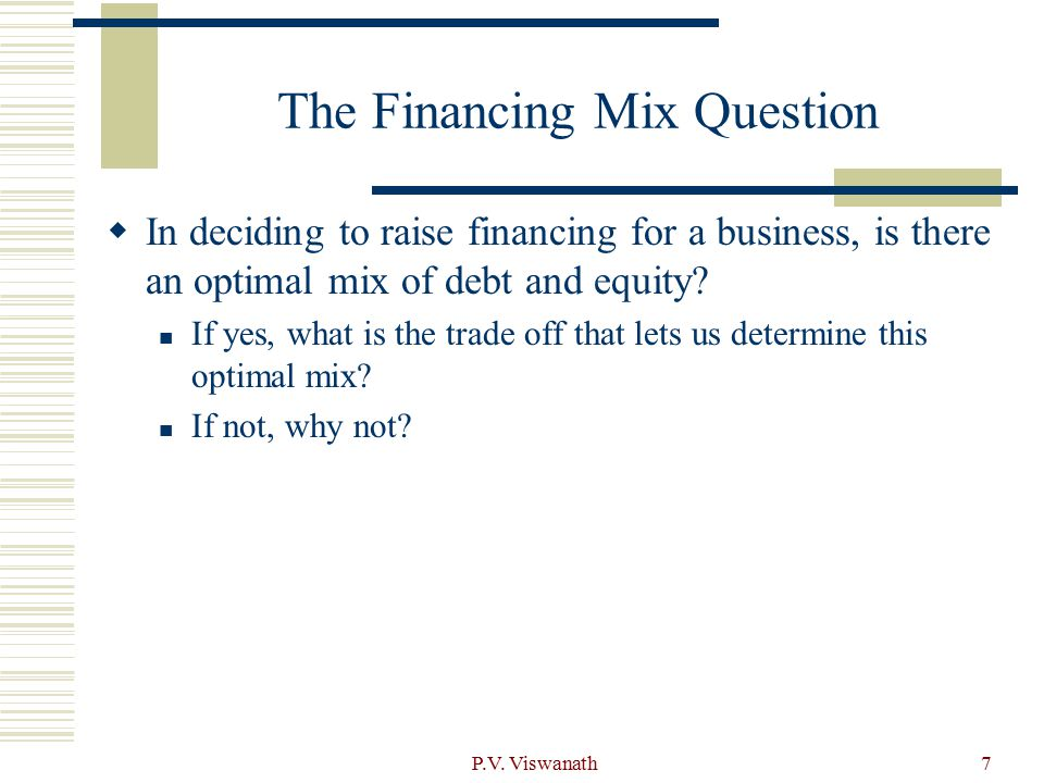 The Financing Mix Question