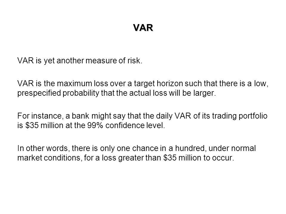VAR VAR is yet another measure of risk.