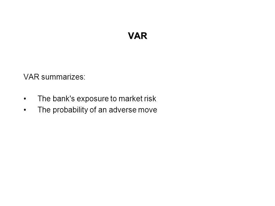 VAR VAR summarizes: The bank s exposure to market risk
