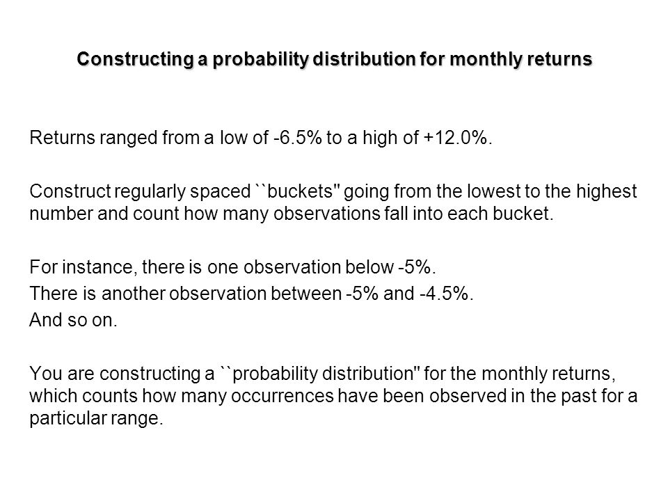 Constructing a probability distribution for monthly returns