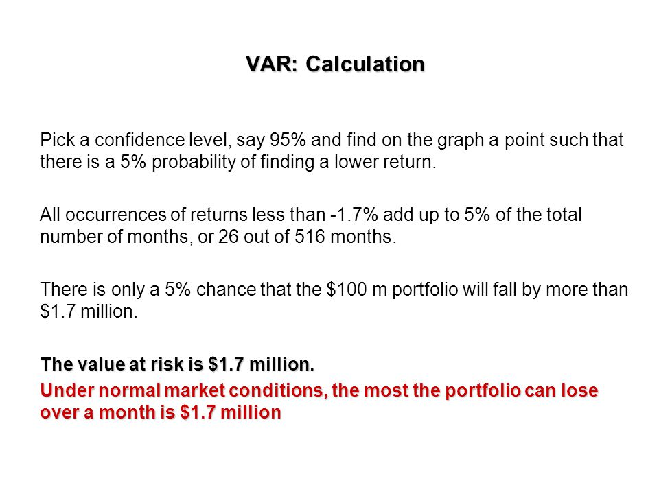 VAR: Calculation Pick a confidence level, say 95% and find on the graph a point such that there is a 5% probability of finding a lower return.