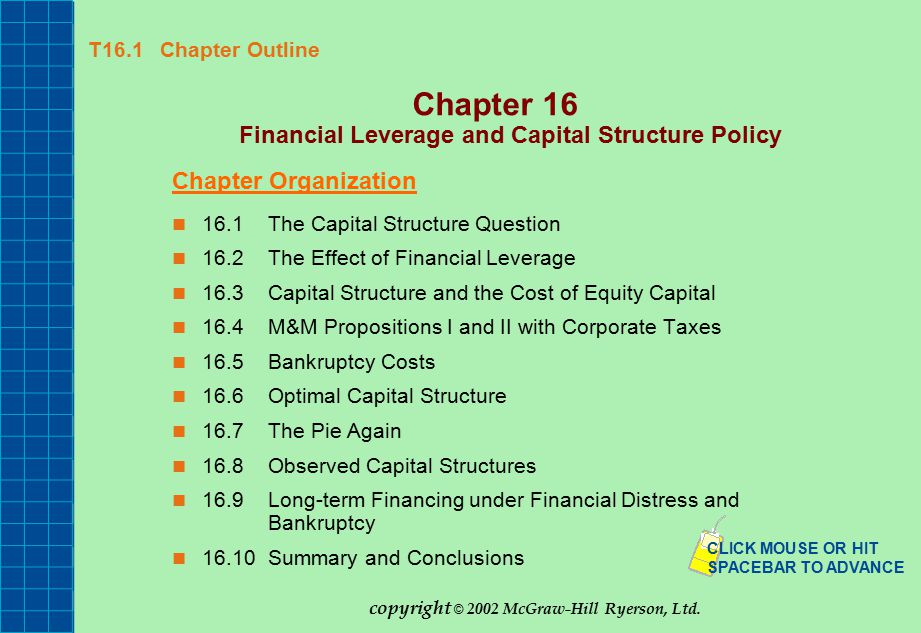 financial structure and debt summary Imply that a capital structure with a lot of debt, particularly secured debt, is an   based on the summary financial measure are robust in the sense that q is.