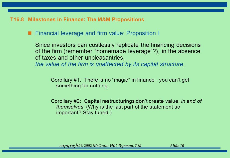 T16.8 Milestones in Finance: The M&M Propositions