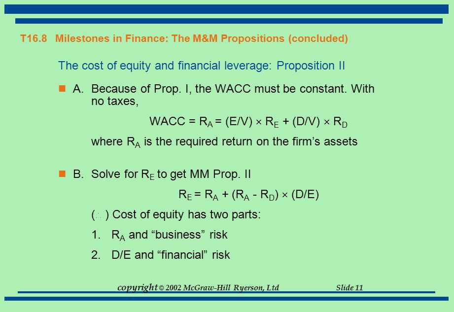 T16.8 Milestones in Finance: The M&M Propositions (concluded)