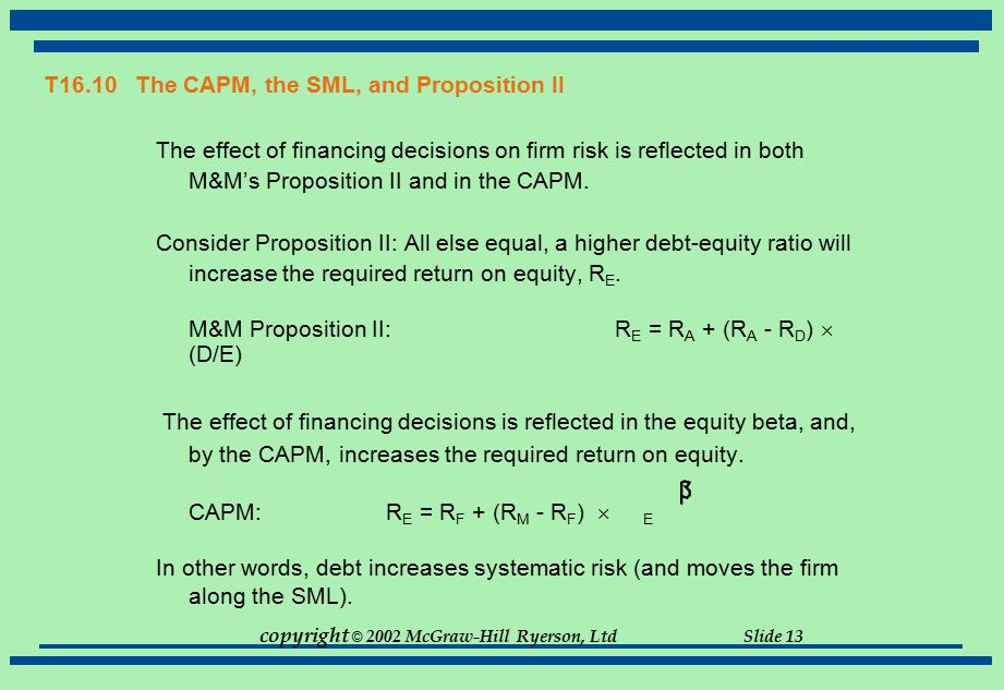 T16.10 The CAPM, the SML, and Proposition II