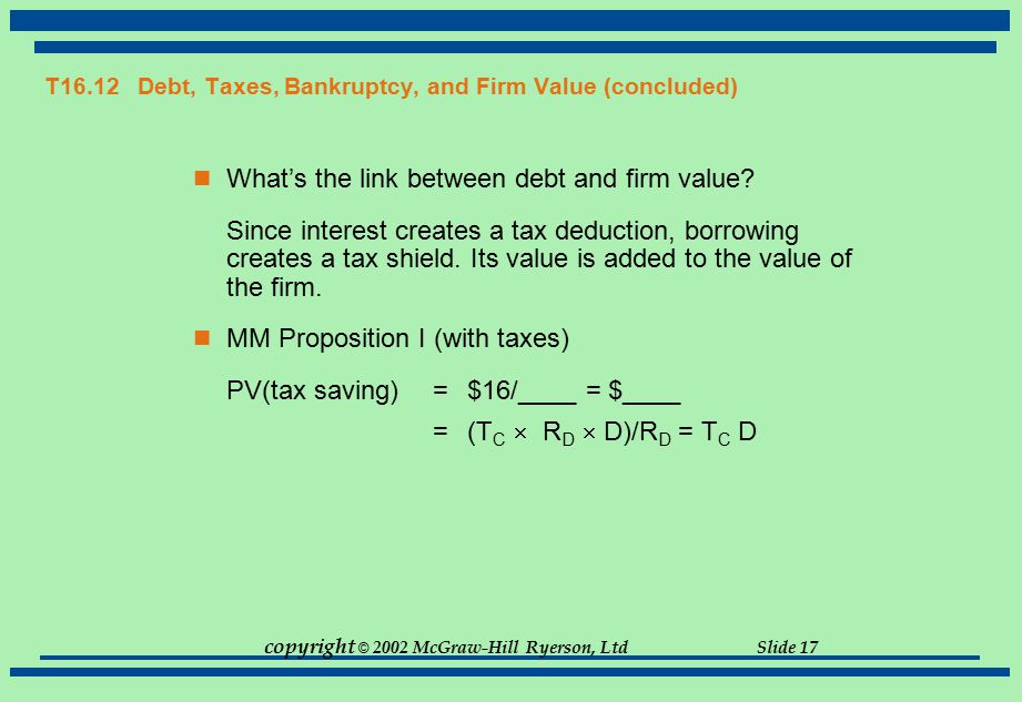 T16.12 Debt, Taxes, Bankruptcy, and Firm Value (concluded)