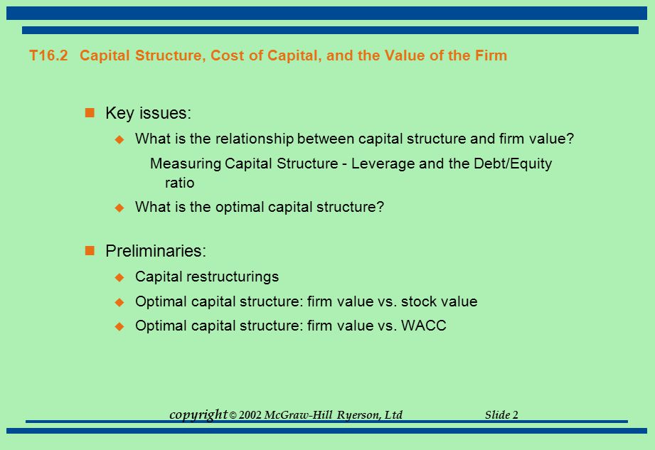 T16.2 Capital Structure, Cost of Capital, and the Value of the Firm