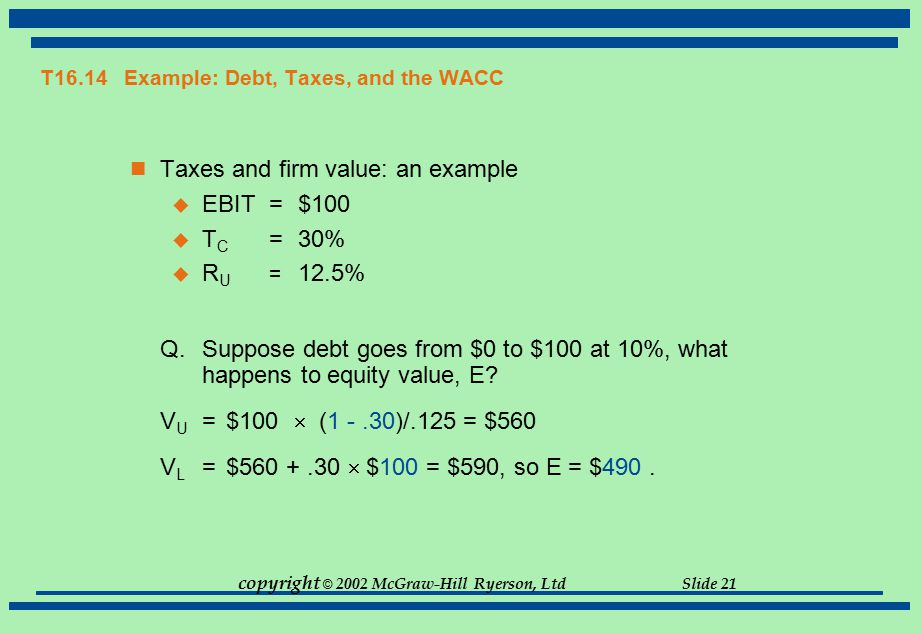 T16.14 Example: Debt, Taxes, and the WACC