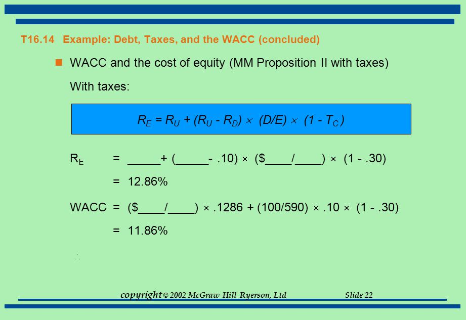 T16.14 Example: Debt, Taxes, and the WACC (concluded)