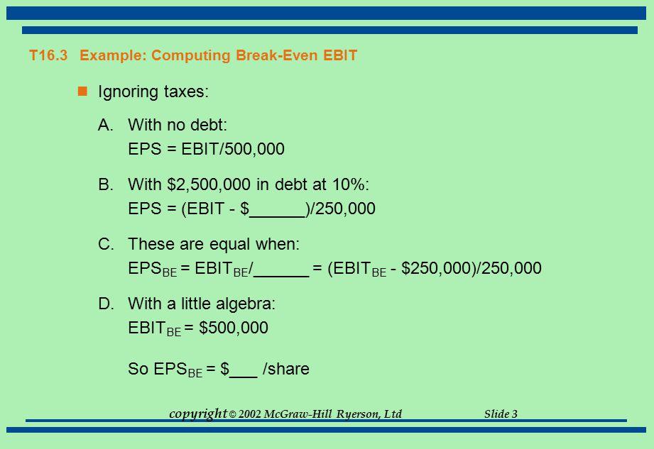 T16.3 Example: Computing Break-Even EBIT