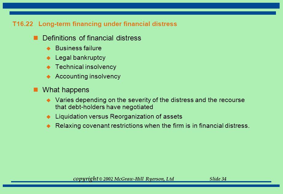 T16.22 Long-term financing under financial distress