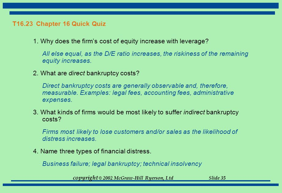 T16.23 Chapter 16 Quick Quiz 1. Why does the firm's cost of equity increase with leverage