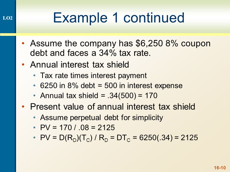Case II – Proposition I LO2. The value of the firm increases by the present value of the annual interest tax shield.