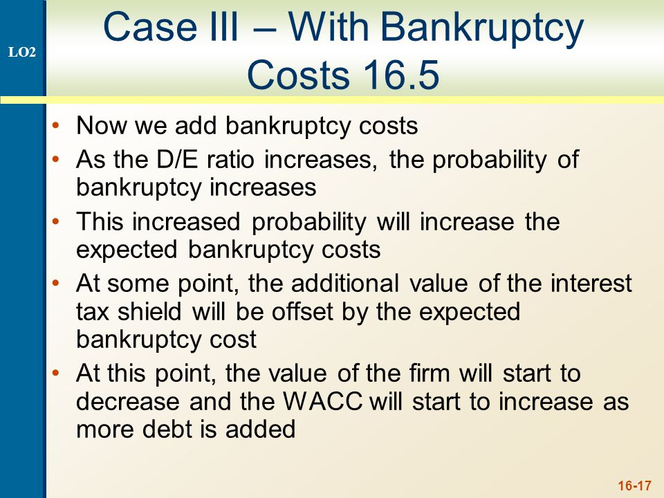 Bankruptcy Costs Direct costs Financial distress